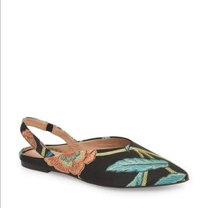 Halogen Sadie Slingback Flat in Coral Embroidery